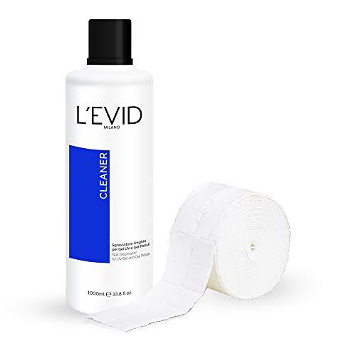 Kit Sgrassatore Unghie - Cleaner Sgrassatore L'EVID MILANO 1000ml + Rotolo Cellulosa da 500 Pad