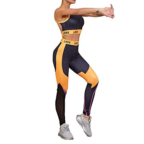 inhzoy Conjunto de Chándal de 2 Piezas para Mujer Traje de Yoga de Verano a la Moda Top Corto sin Mangas con Leggings Elásticos Naranja S