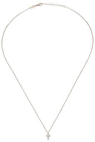Kurshuni Halskette Kreuz Mini Collier Sterlingsilber + Zirkonia Kreuz ca. 4/5 mm/ca. 42-45 cm lang + Geschenksäckchen