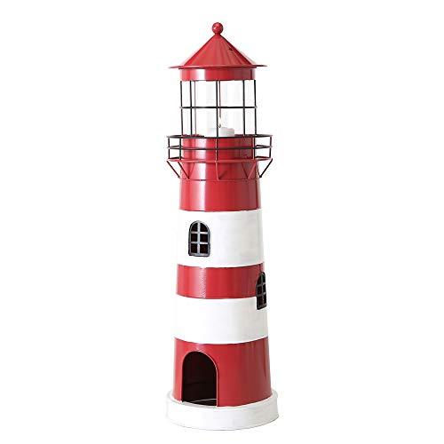 Boltze Laterne Leuchtturm rot weiß aus Metall Windlicht maritim Strandhaus Deko - Gross