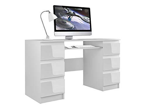 Mirjan24 Schreibtisch Glen, 6 Schubladen Schülerschreibtisch Computertisch Arbeitstisch Kinderschreibtisch PC-Tisch Kinderzimmer Jugendzimmer (Weiß/Weiß Hochglanz)