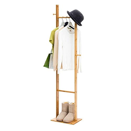 DAHAI 61.4' Bamboo Coat Rack,With Hooks,Natural Wood Finish Change Hanger,Free Standing Jacket Coat Tree Stand Coat Hangers,For Bedroom Living Room Or Office