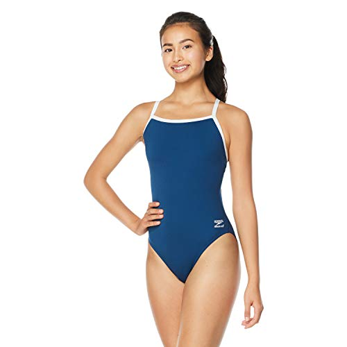 Speedo Women's Swimsuit One Piece Endurance+ Flyback Solid Adult Team Colors,Navy,32