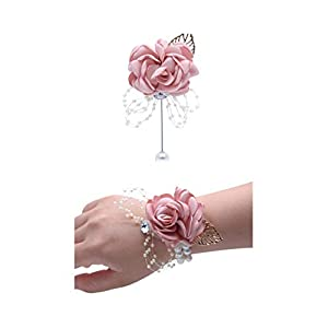 Flonding Rose Wedding Wrist Corsage and Boutonniere Set Party Prom Hand Ribbon Flower Suit Decor