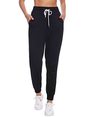 Sykooria Damen Jogginghose Sporthose Lang Yoga Hosen Freizeithose Laufhosen Baumwolle High Waist Trainingshose für Frauen-Black-XXL