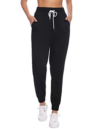 Sykooria Damen Jogginghose Sporthose Lang Yoga Hosen Freizeithose Laufhosen Baumwolle High Waist Trainingshose für Frauen-Black-M