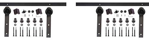 EWEI'S Homewares 6-Feet Country Steel Sliding Barn Door Hardware - Black
