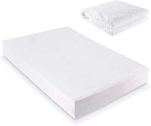 Werpow - Protector de colchón impermeable, 100% algodón, transpirable, 140 x 200 cm