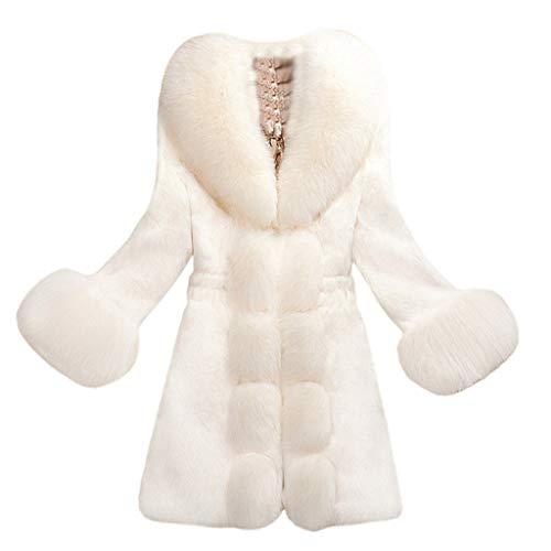 QinMM Snowmass Winterjacke Damen, Damen Kunstpelzmantel Elegante Dicke Warme Mode Oberbekleidung Lange Kunstpelzjacke