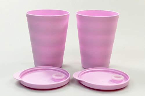Tupperware Trinkhalmbecher Junge Welle 330 ml (2) rosa Trinkhalm Becher 38073