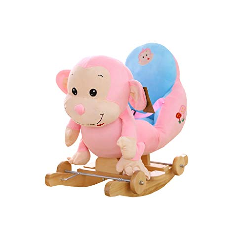 Rocking Chair Baby Rocking Horse Wooden, 2 In 1 Plush Rocking Horse with Wheels, Pink Monkey Baby Rocker for 1-3 years old, Child Rocking Horse/Toddler Rocker/Baby Rocker Toy/Child Rocker/Wooden Rocke