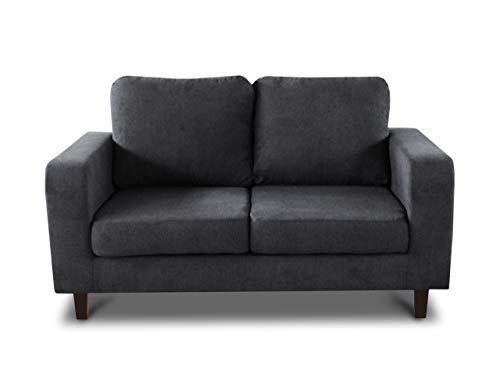 Sofa Kera 2-Sitzer - Velours Stoff, Holzfüße, Couch 2-er, Loungesofa, Sofagarnitur, Büro, Wohnzimmer (Dunkelgrau (Cosmic 97))