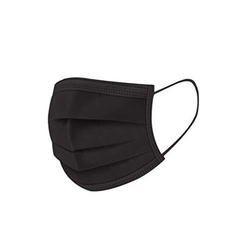 Aujelly 50 Stück Einweg Mundschutz Erwachsene 3-lagig Atmungsaktiv Komfortabel Einweg Mund und Nasenschutz Staubdicht Mund-Nasen Bedeckung Halstuch Schals B001 (Erwachsene, Einweg-Schwarz-A)