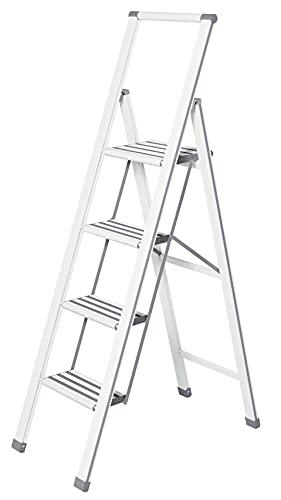 WENKO Escalera plegable en diseño de aluminio 4 peldaños, blanca, Haushaltsleiter, Aluminio...
