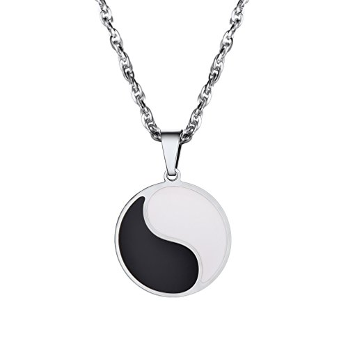 PROSTEEL Tai Chi Necklace,Dudeism Pendant,Talisman Charm Taoism Sign,Stainless Steel,Balance Necklace,Spirituality Gift,Yin Yang Jewelry,Good and Evil,Duality Emblem Amulet,Gift for Him