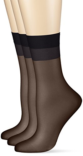Hudson Damen 030044  Glanz Fein Socken,  15 DEN,  Schwarz (Black 0005),  35/38 (3er Pack)
