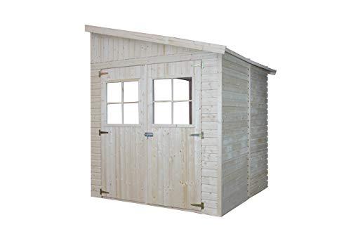 TIMBELA Holz Gartenschuppen (ohne Seitenwand) - Abstellkammer mit Fenstern - H244x211x220 cm/4 m2 Naturholz-Shiplap-Schuppen - Gartenwerkstatt - Fahrrad- Geräteschuppen M338