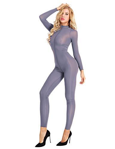 iEFiEL Lingerie Body Donna Sexy Hot Jumpsuit Donna Tuta da Ginnastica Danza Bodysuit Bodystocking Tuta Intera Leggings Unitard Catsuit Trasparente Cerniera Cavallo Aperto Grigio M