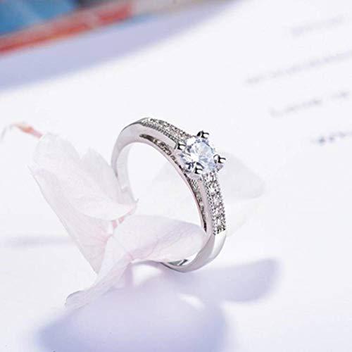Thumby Fashion vrouwen zirkoon en diamant vergulde wit gouden ring vrouw, platte ring, sleuven Xcsr0015, wit & platina, US 6