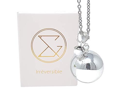 Bola de Grossesse Howlite - 20MM avec chaine, 100% plaqué argent - perle en perle howlite blanche...