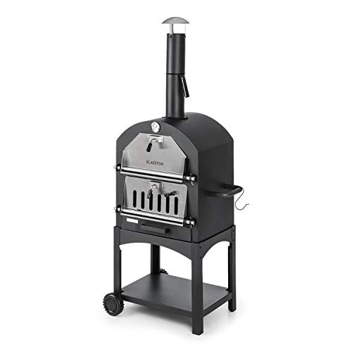 KLARSTEIN Pizzaiolo Perfect Pizza Oven - 30,5 x 30,5cm, Real Stone, 1.2mm Steel, Mobile, Crispy, Tasty, Floor Rollers, Handle, 2-Piece Grill, Heat Resistant Powder Coating, Black