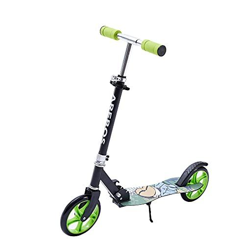 Arebos Tretroller Scooter | XXL Räder | Tragegurt & Seitenständer| rutschfeste Trittfläche | Höhenverstellbar | Tritt-Bremse | max. 100 kg | Grün