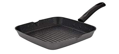 Attro Non-Stick Aluminium Gas Compatible Grill Pan, 24 cm, Marble Grey