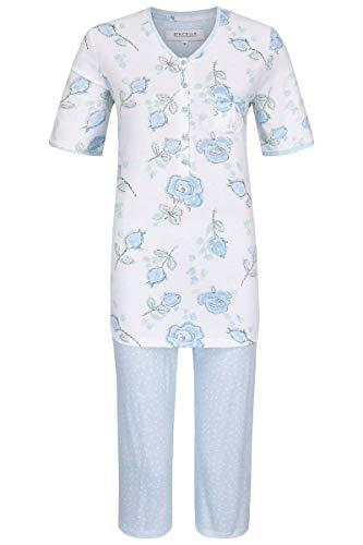 Ringella Damen Pyjama mit Caprihose bleu 48 0211235, bleu, 48
