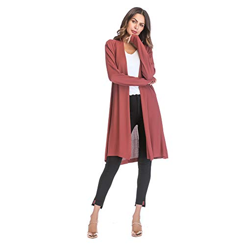 Yyh Cardigan Kimono Cardigan Tops Casual Losse strand-vertukking blouse tops X-Large brick red
