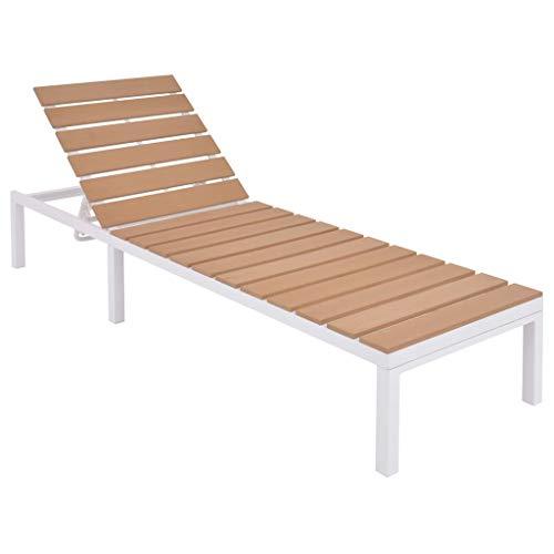vidaXL Chaise Longue Bain de Soleil de Jardin Transat de Patio Chaise Longue de Terrasse Piscine Extérieur Aluminium et WPC Marron