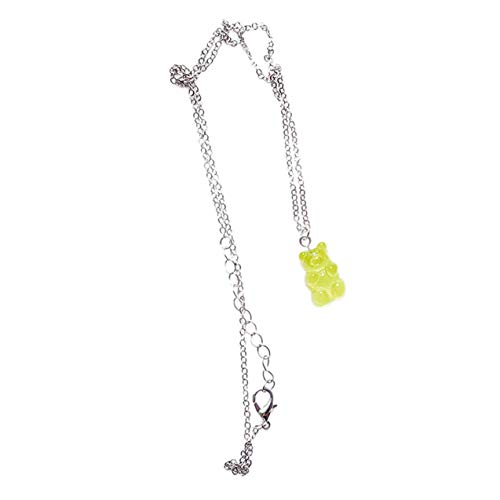 LIGH Cute Colorful Bear Gummy Necklace Korean Clavicle Chain Korean Version Female Noble Temperament Pendant - Green