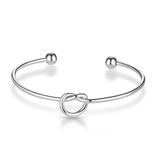 Philip Jones Silver Love Knot Cuff Bangle