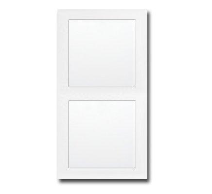 Komplett-Set Berker S.1 Abdeckrahmen, 2-fach - Polarweiß, glänzend mit 2x Wippe + 2x Einsatz, Wippschalter, Aus/Wechsel -BERKER- -weiß-