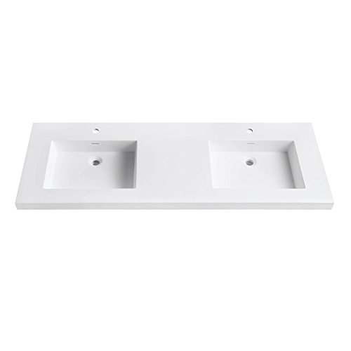 VersaStone 61 in. Solid Surface Vanity Top with Integrated Double 22 in. Deep Bowl in Matte finish