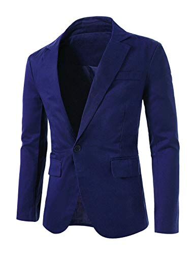 uxcell Herren-Blazer mit gekerbtem Reversknopf, schmale Passform, leicht, sportlich -  Blau -  60