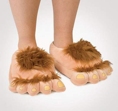 1 par de zapatillas Monster felpa Aventura de la novedad de invierno pies grandes zapatillas creativo Bigfoot zapatos calientes Pies invierno Hobbit zapatos de interior para adultos de los niños