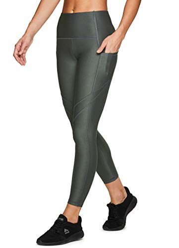 RBX Active Damen Athletic Fashion Workout Yoga Knöchellang 7/8 Leggings mit Beindetail - Gr�n - Mittel