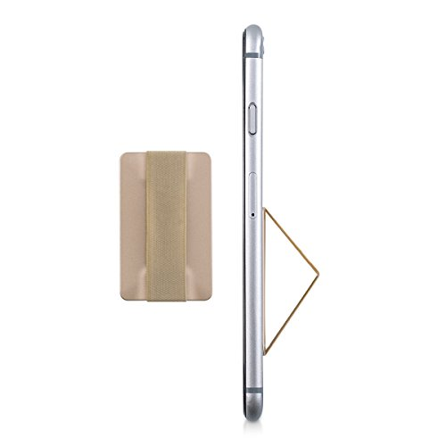 kwmobile Slim Smartphone Fingerhalter Griff Halter - Selbstklebende Handy Fingerhalterung Finger Halter kompatibel mit iPhone Samsung Sony Handys Gold