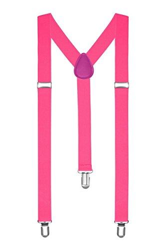 Boolavard Bretelle Uomo Donna Unisex forma a Y regolabile ed elastico per i pantaloni molto forti Clip vari colori (Rosa)