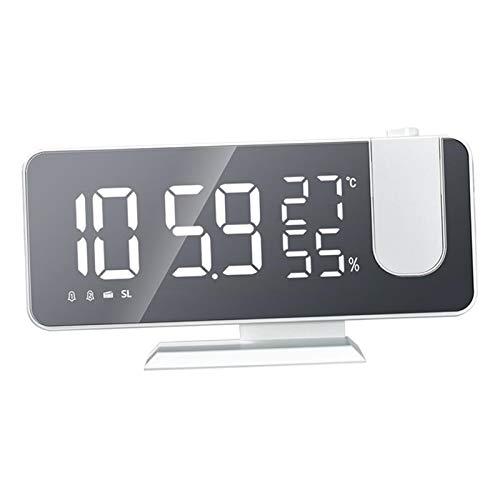 Baoblaze Relojes Despertadores con Pantalla Mirron para Dormitorio, Radio con Doble Alarma, proyección de Radio FM portátil, pequeño Altavoz al Aire Libre con - Blanco
