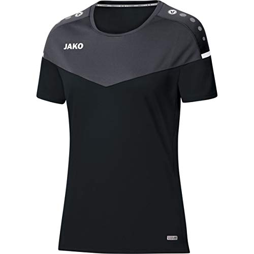 JAKO Damen T-shirt Champ 2.0, schwarz/anthrazit, 38, 6120