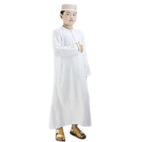 BaronHong Muslim Kinder Jungen Saudi Thobe Robe Abaya Islamische Arabische Kandoura (weiß, 42)