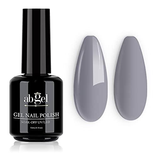 ab gel Vernis à ongles en gel, 15ml de couleur grise Soak Off Gel professionnel UV LED Nail Gel Polish Art Manucure Starter Salon DIY à la maison