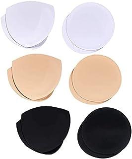 6 Pairs Bra Pads Bra Insert Cups Push-up Foam Bra (Black 1, White 1, Beige 1, Triangle+Circle)