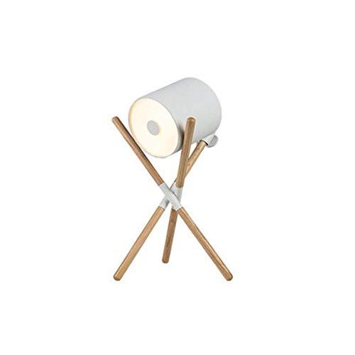 Sala de estar Decoración Sofá lámpara de mesa, dormitorio LED de noche sólido tabla de madera de la lámpara de escritorio de la decoración de regalo (Color: Negro) kshu (Color : White)