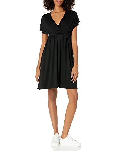 Amazon Essentials - Vestido de sobrepelliz para mujer, Negro, US S (EU S - M)