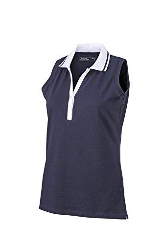 2Store24 Ladies' Elastic Polo Sleeveless in Navy/White Size: M