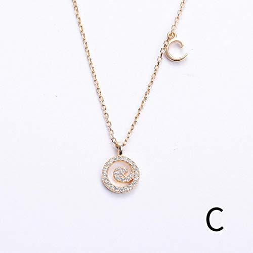 liuliu S925 Collar de Plata esterlina Colgante Oro Helado Letra Creativa Cadena de clavícula Collar Inicial joyería