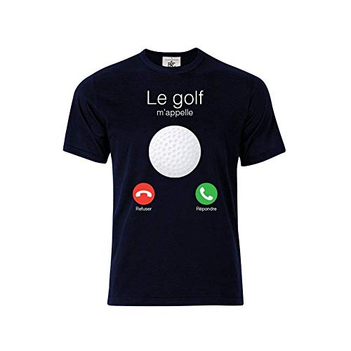 Mygoodprice T-Shirt col Rond Le Golf m'appelle Bleu XL