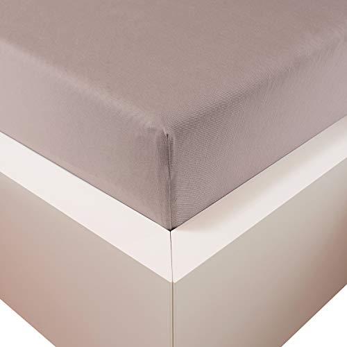 Traumschloss Edel-Jersey Spannbetttuch Premium Plus | Stein | Mako Baumwolle mit Lyocell & Elasthan | Bettlaken wärmt im Winter & kühlt im Sommer | hautsympatisch | 90-120 cm x 200-220 cm